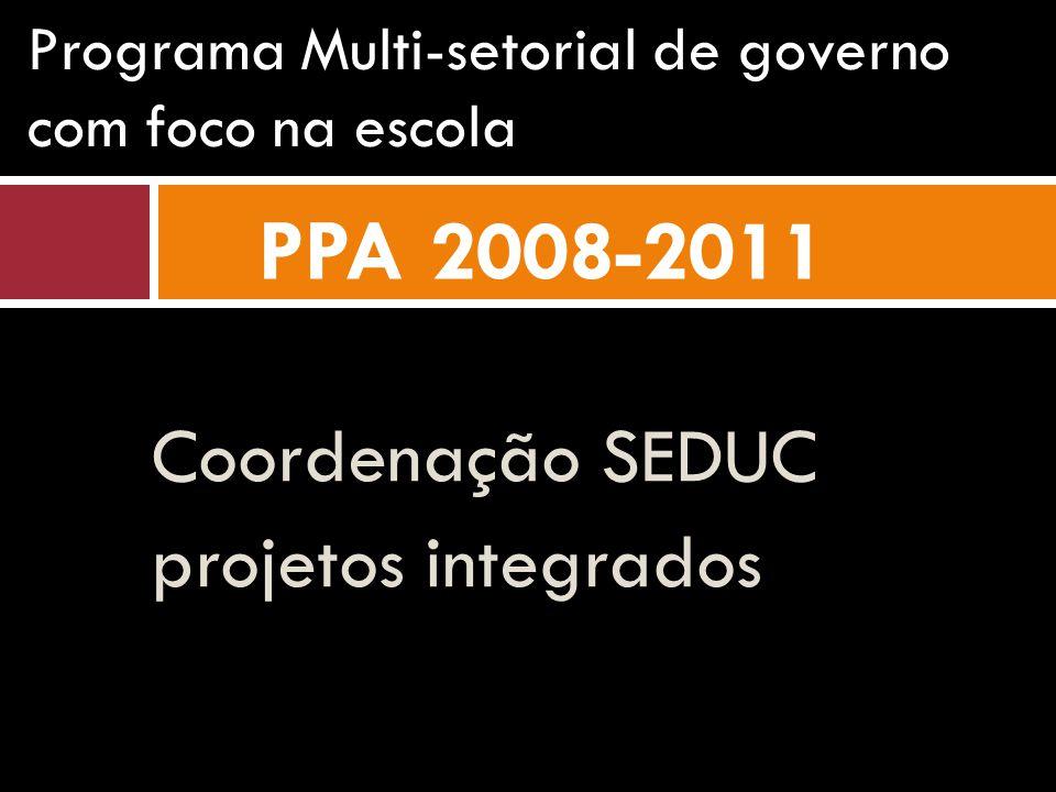 Coordenação SEDUC projetos integrados Programa Multi-setorial de governo com foco na escola PPA 2008-2011
