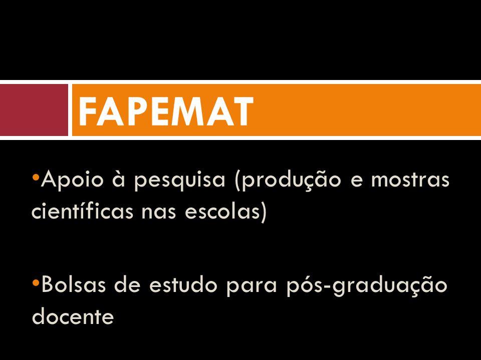 Apoio à pesquisa (produção e mostras científicas nas escolas) Bolsas de estudo para pós-graduação docente FAPEMAT