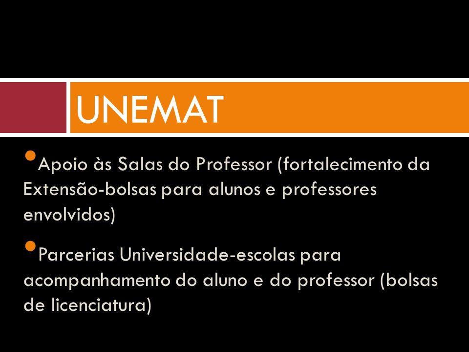 Apoio às Salas do Professor (fortalecimento da Extensão-bolsas para alunos e professores envolvidos) Parcerias Universidade-escolas para acompanhamento do aluno e do professor (bolsas de licenciatura) UNEMAT
