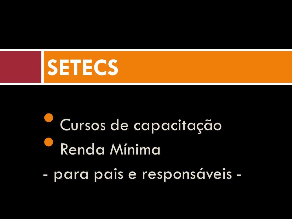Cursos de capacitação Renda Mínima - para pais e responsáveis - SETECS