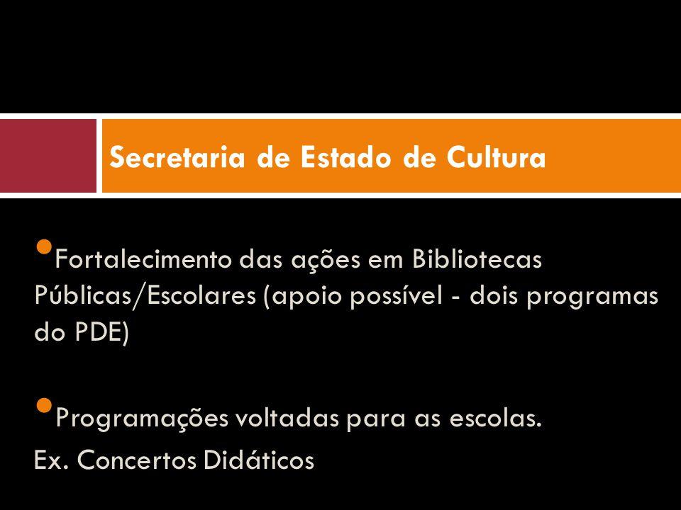 Fortalecimento das ações em Bibliotecas Públicas/Escolares (apoio possível - dois programas do PDE) Programações voltadas para as escolas. Ex. Concert