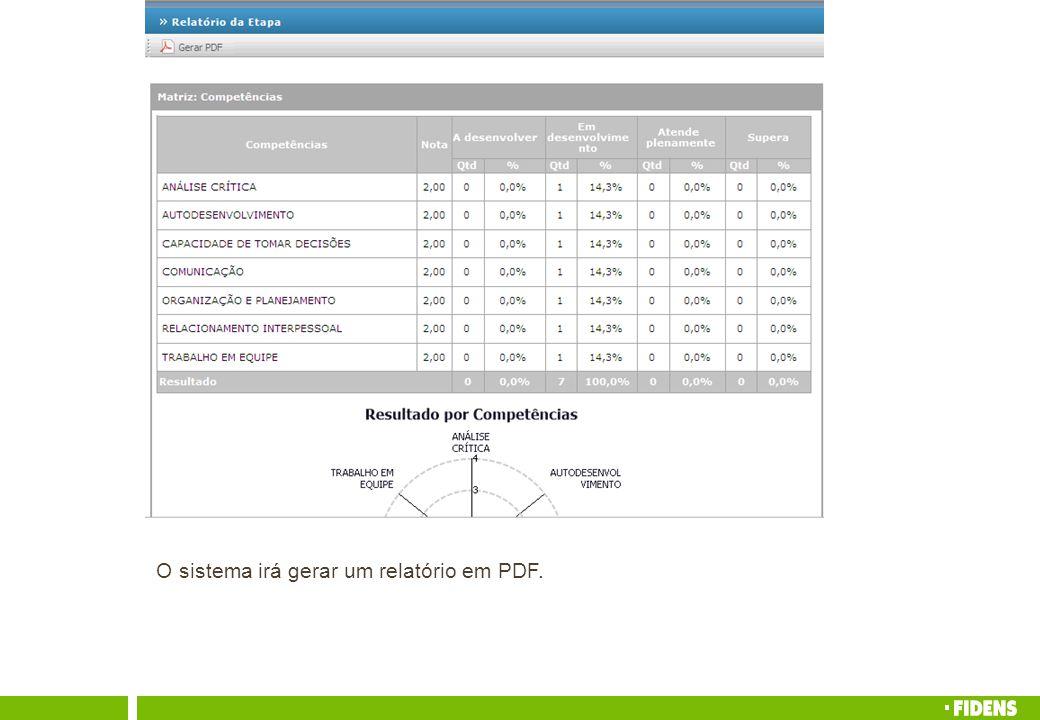O sistema irá gerar um relatório em PDF.