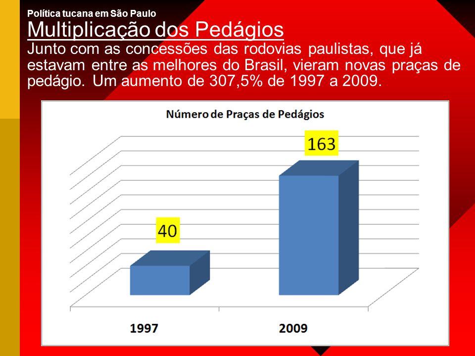 Política tucana em São Paulo Multiplicação dos Pedágios Junto com as concessões das rodovias paulistas, que já estavam entre as melhores do Brasil, vieram novas praças de pedágio.