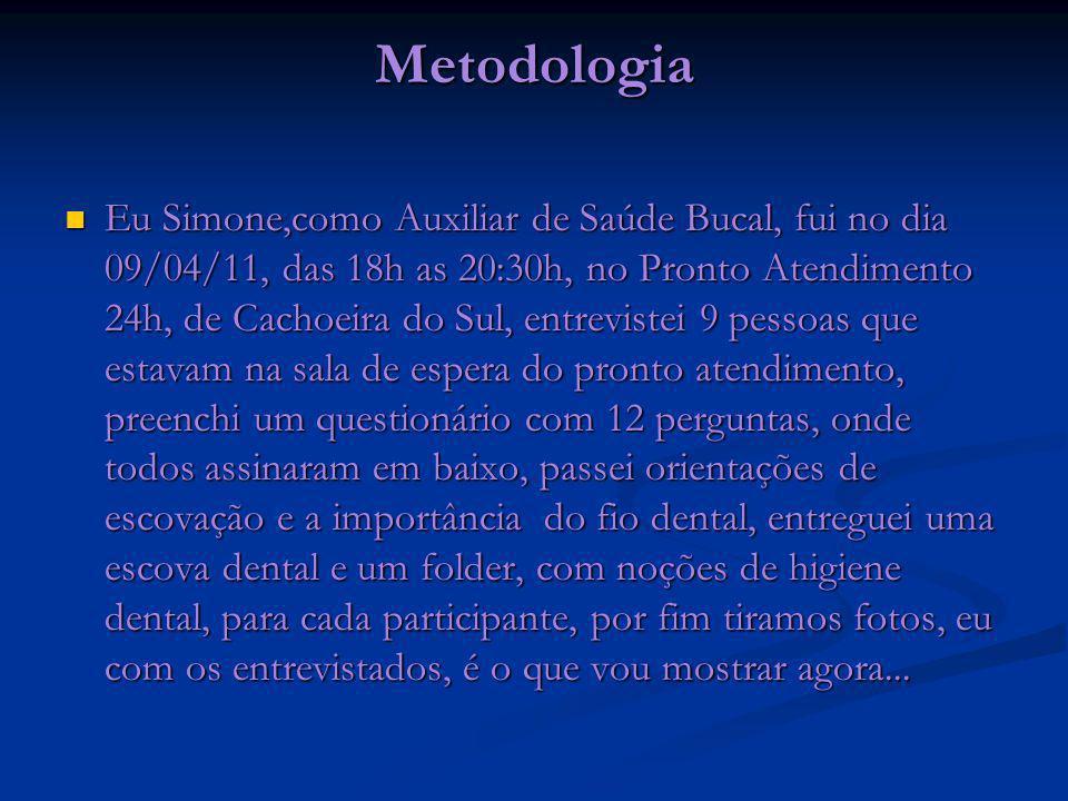 Metodologia Eu Simone,como Auxiliar de Saúde Bucal, fui no dia 09/04/11, das 18h as 20:30h, no Pronto Atendimento 24h, de Cachoeira do Sul, entreviste