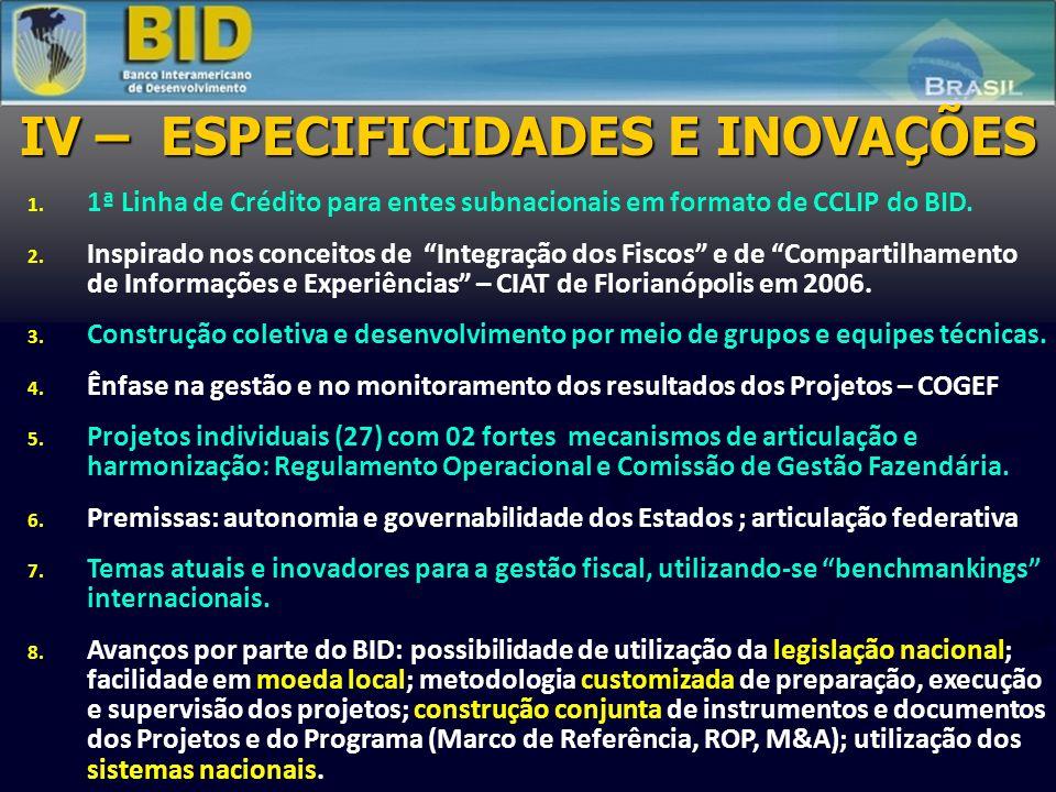 """IV – ESPECIFICIDADES E INOVAÇÕES 1. 1ª Linha de Crédito para entes subnacionais em formato de CCLIP do BID. 2. Inspirado nos conceitos de """"Integração"""