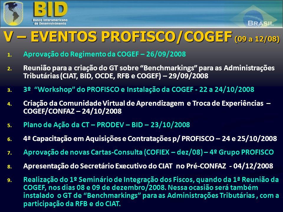 """V – EVENTOS PROFISCO/COGEF (09 a 12/08) 1. Aprovação do Regimento da COGEF – 26/09/2008 2. Reunião para a criação do GT sobre """"Benchmarkings"""" para as"""