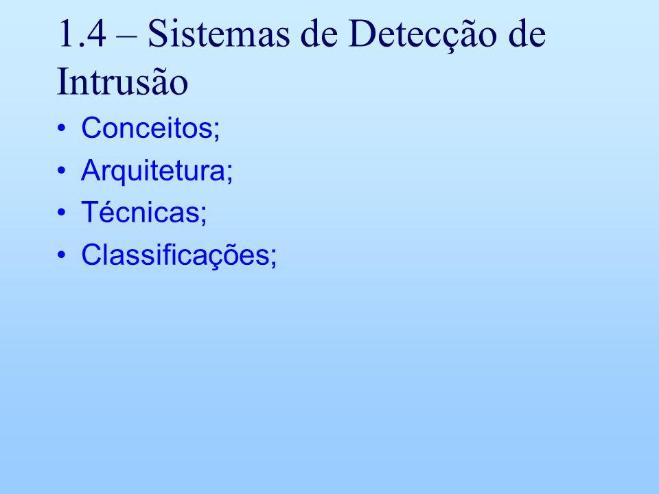 1.4 – Sistemas de Detecção de Intrusão Conceitos; Arquitetura; Técnicas; Classificações;