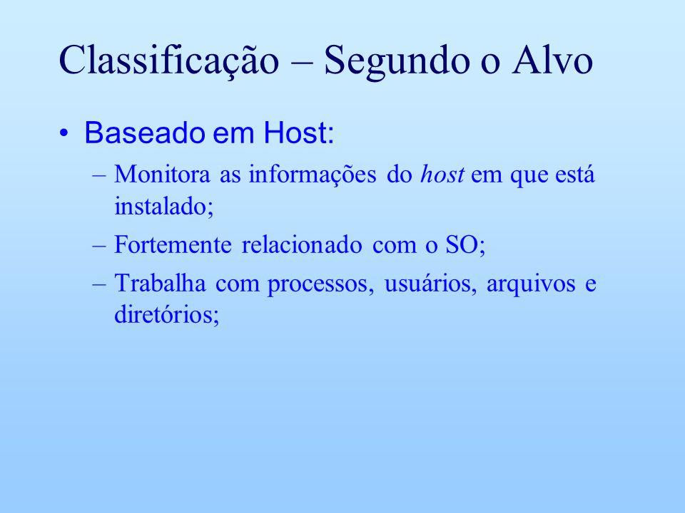 Classificação – Segundo o Alvo Baseado em Host: –Monitora as informações do host em que está instalado; –Fortemente relacionado com o SO; –Trabalha com processos, usuários, arquivos e diretórios;