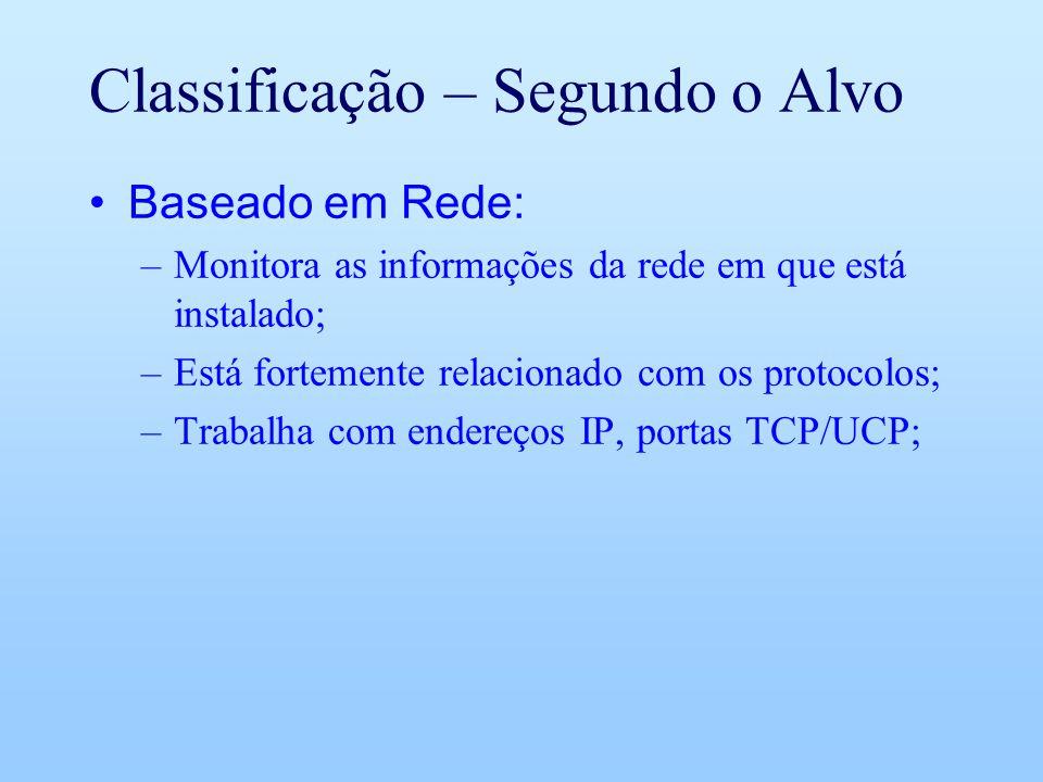 Classificação – Segundo o Alvo Baseado em Rede: –Monitora as informações da rede em que está instalado; –Está fortemente relacionado com os protocolos; –Trabalha com endereços IP, portas TCP/UCP;