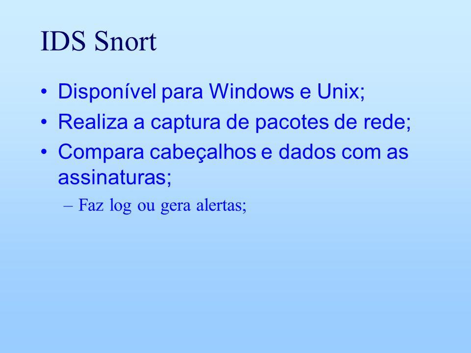 IDS Snort Disponível para Windows e Unix; Realiza a captura de pacotes de rede; Compara cabeçalhos e dados com as assinaturas; –Faz log ou gera alerta