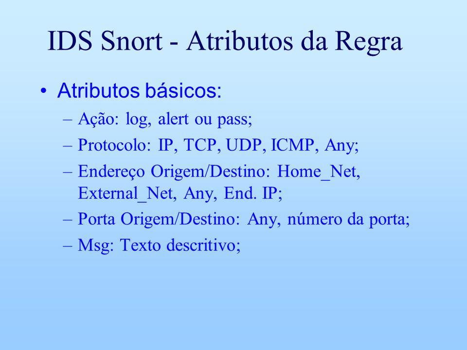 IDS Snort - Atributos da Regra Atributos básicos: –Ação: log, alert ou pass; –Protocolo: IP, TCP, UDP, ICMP, Any; –Endereço Origem/Destino: Home_Net,