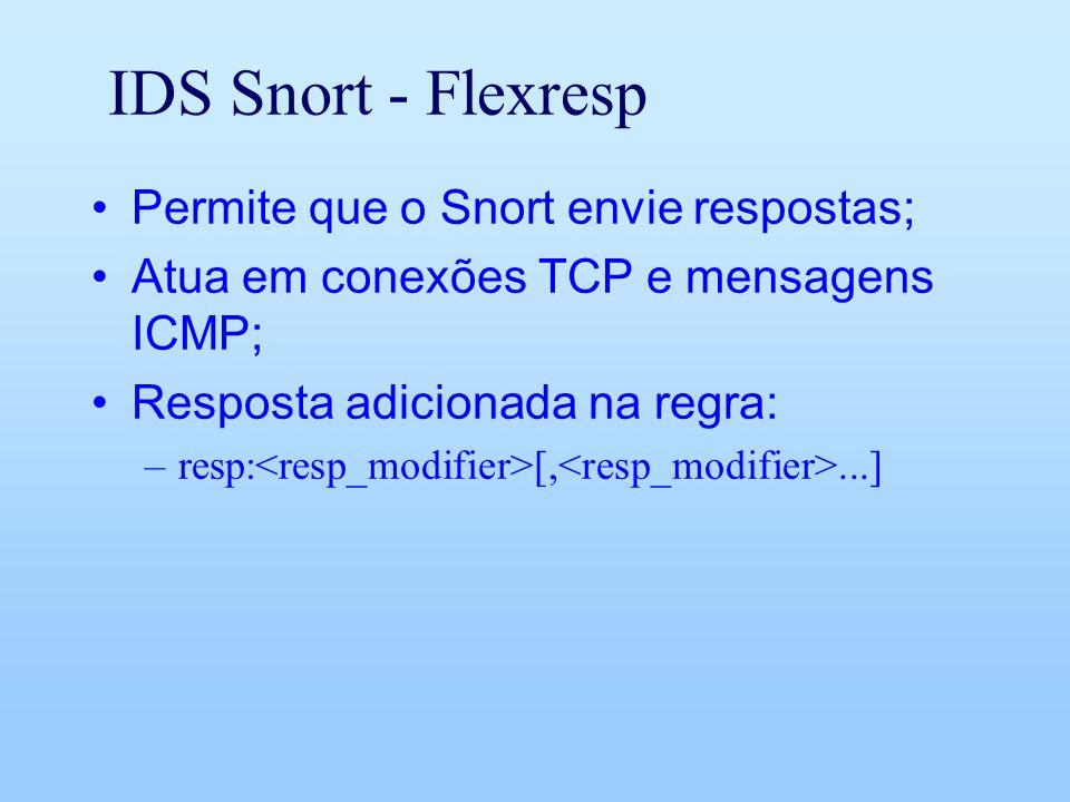 IDS Snort - Flexresp Permite que o Snort envie respostas; Atua em conexões TCP e mensagens ICMP; Resposta adicionada na regra: –resp: [,...]