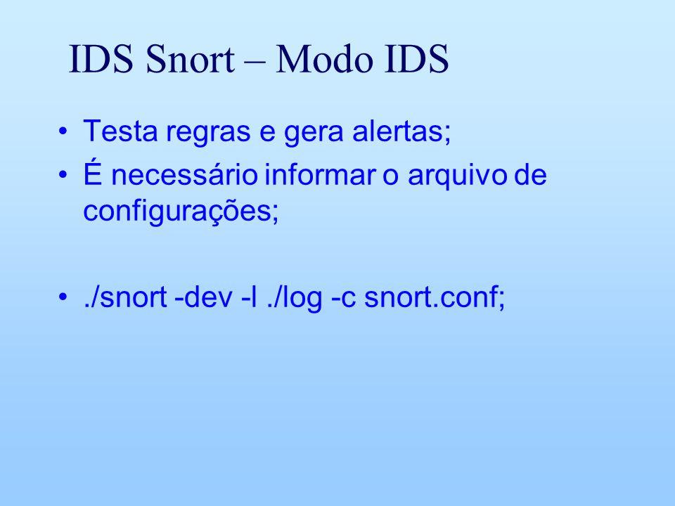 IDS Snort – Modo IDS Testa regras e gera alertas; É necessário informar o arquivo de configurações;./snort -dev -l./log -c snort.conf;