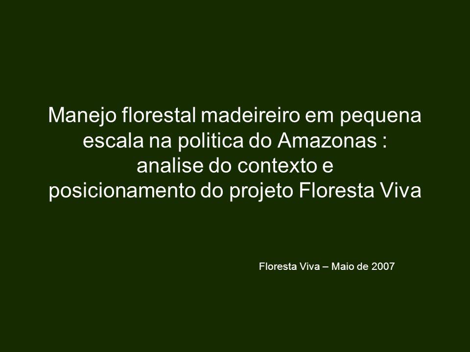 Manejo florestal madeireiro em pequena escala na politica do Amazonas : analise do contexto e posicionamento do projeto Floresta Viva Floresta Viva –