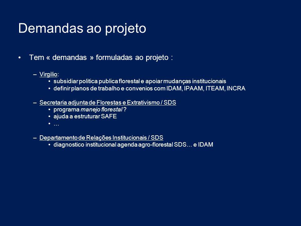 Demandas ao projeto Tem « demandas » formuladas ao projeto : – Virgilio: subsidiar politica publica florestal e apoiar mudanças institucionais definir