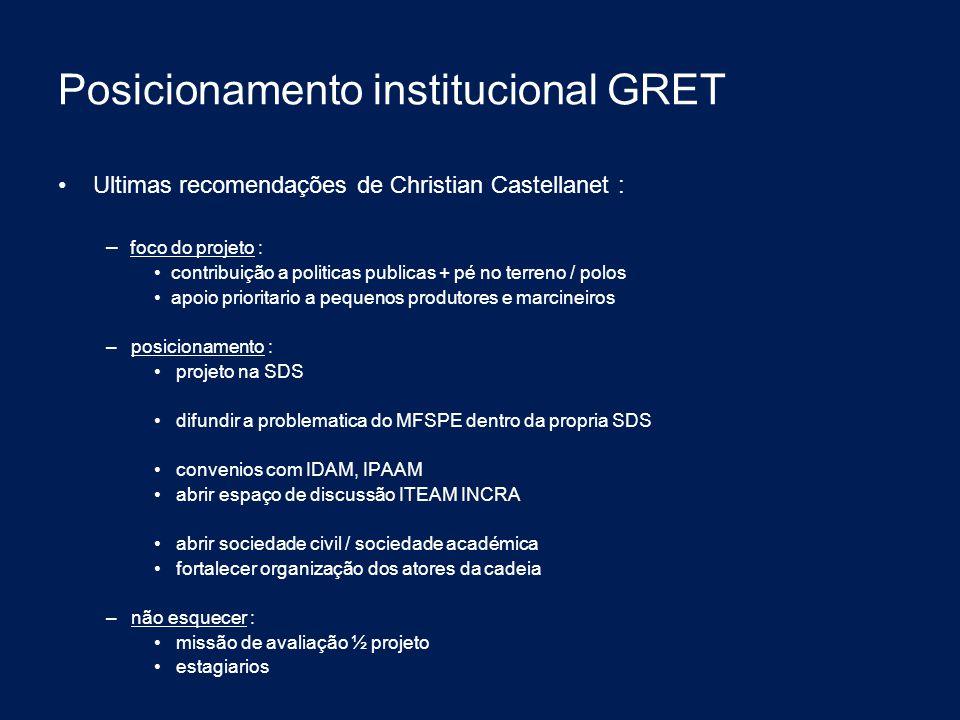 Posicionamento institucional GRET Ultimas recomendações de Christian Castellanet : – foco do projeto : contribuição a politicas publicas + pé no terre