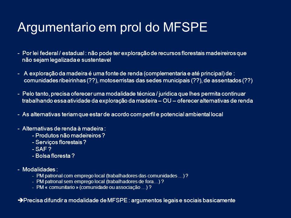 Argumentario em prol do MFSPE - Por lei federal / estadual : não pode ter exploração de recursos florestais madeireiros que não sejam legalizada e sus