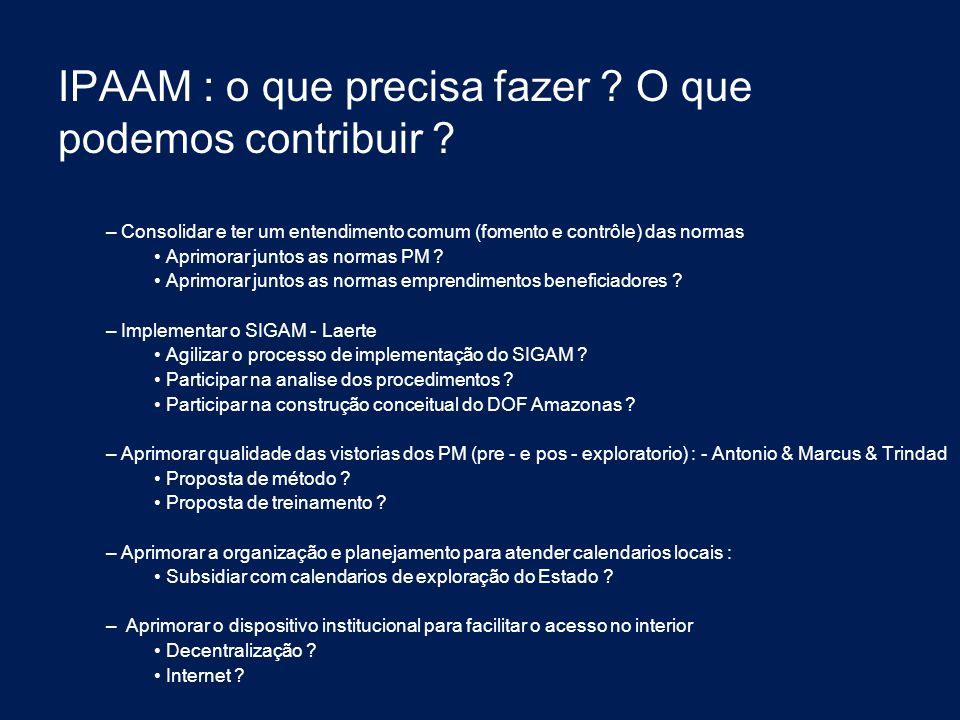 IPAAM : o que precisa fazer ? O que podemos contribuir ? – Consolidar e ter um entendimento comum (fomento e contrôle) das normas Aprimorar juntos as