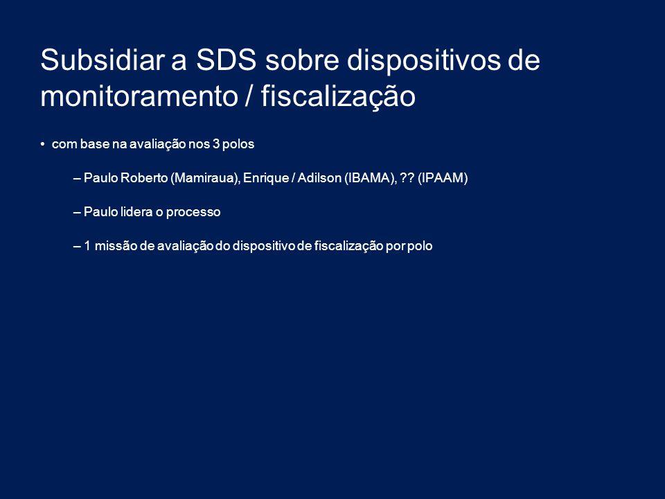 Subsidiar a SDS sobre dispositivos de monitoramento / fiscalização com base na avaliação nos 3 polos – Paulo Roberto (Mamiraua), Enrique / Adilson (IB