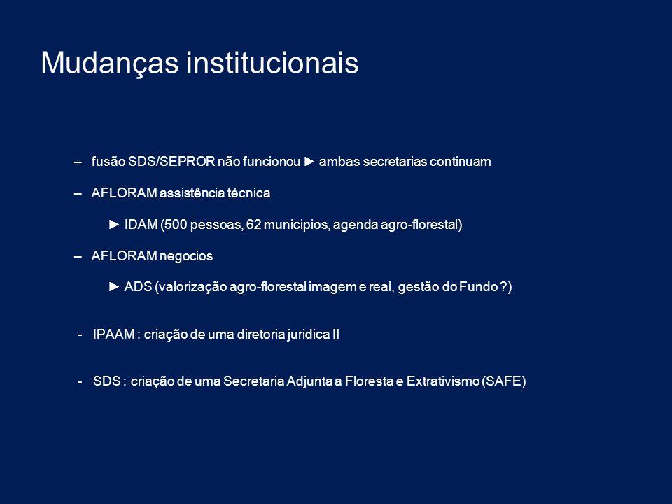 Mudanças institucionais – fusão SDS/SEPROR não funcionou ► ambas secretarias continuam – AFLORAM assistência técnica ► IDAM (500 pessoas, 62 municipio