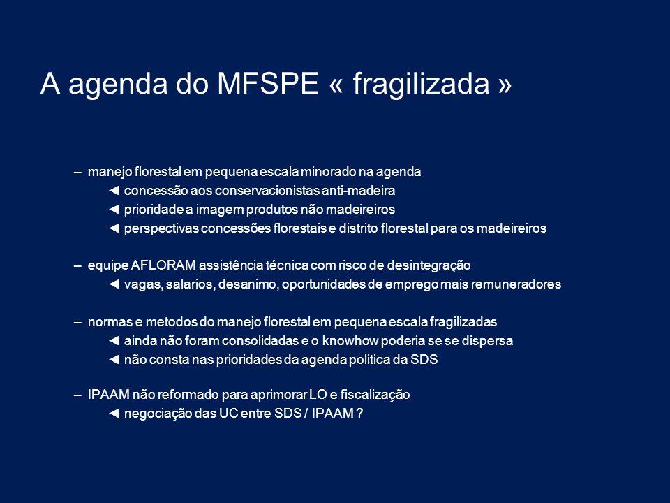 A agenda do MFSPE « fragilizada » – manejo florestal em pequena escala minorado na agenda ◄ concessão aos conservacionistas anti-madeira ◄ prioridade