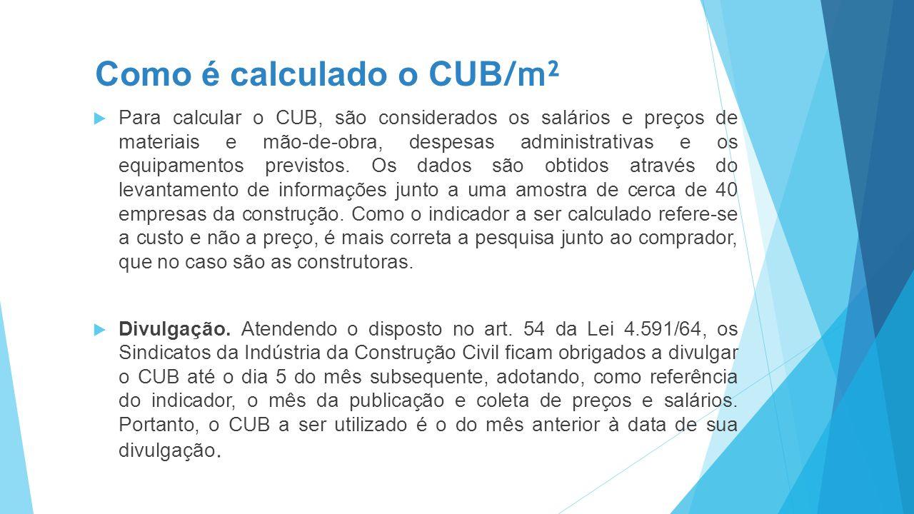 Como é calculado o CUB /m²  Para calcular o CUB, são considerados os salários e preços de materiais e mão-de-obra, despesas administrativas e os equi