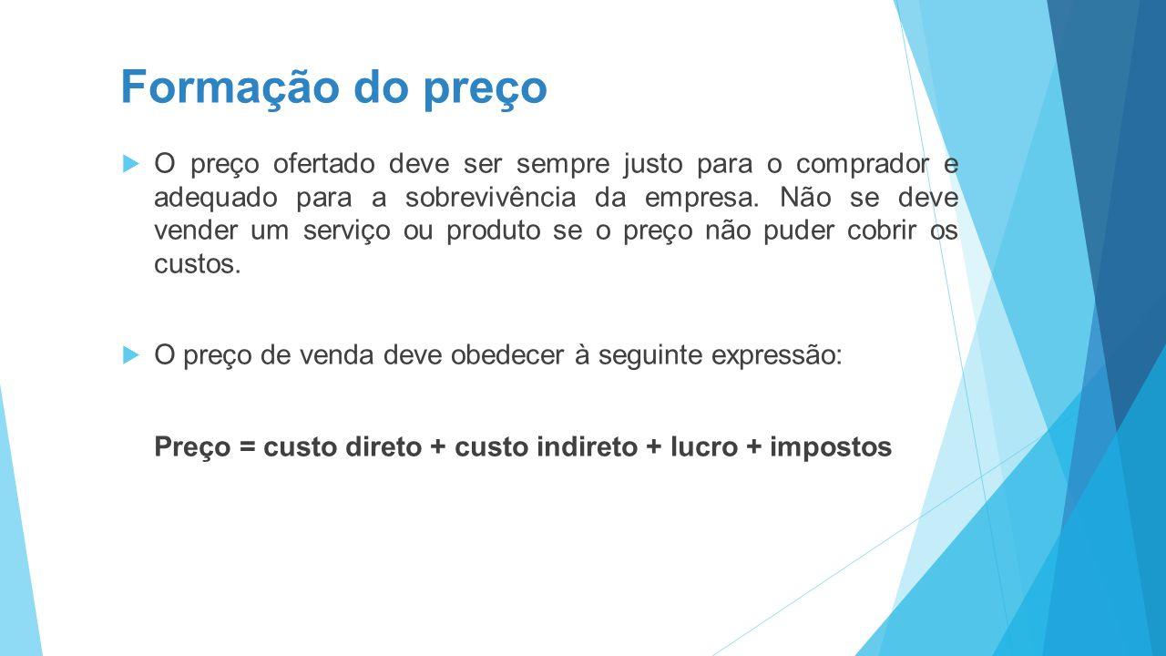 Formação do preço  O preço ofertado deve ser sempre justo para o comprador e adequado para a sobrevivência da empresa. Não se deve vender um serviço
