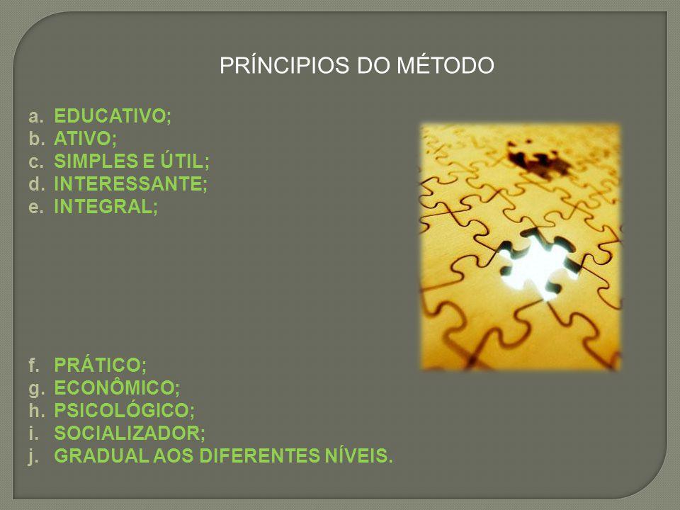 PRÍNCIPIOS DO MÉTODO a.EDUCATIVO; b.ATIVO; c.SIMPLES E ÚTIL; d.INTERESSANTE; e.INTEGRAL; f.PRÁTICO; g.ECONÔMICO; h.PSICOLÓGICO; i.SOCIALIZADOR; j.GRAD