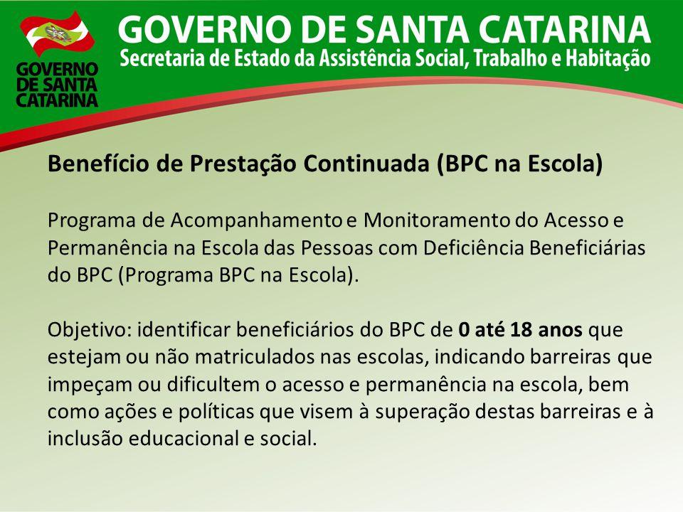 Benefício de Prestação Continuada (BPC na Escola) Programa de Acompanhamento e Monitoramento do Acesso e Permanência na Escola das Pessoas com Deficiê