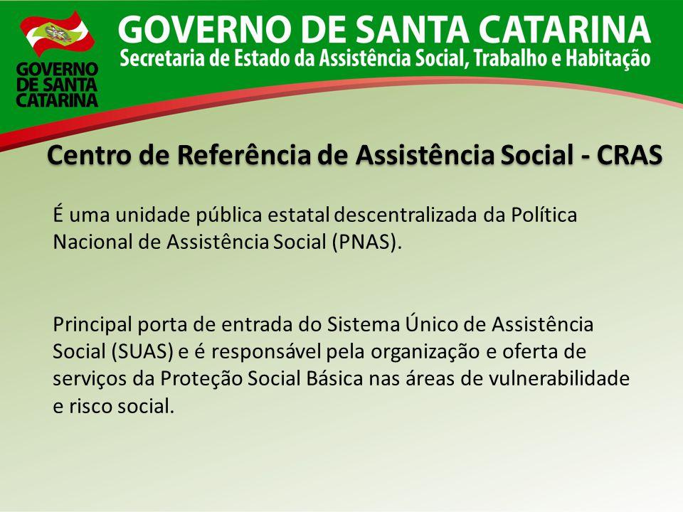 É uma unidade pública estatal descentralizada da Política Nacional de Assistência Social (PNAS). Principal porta de entrada do Sistema Único de Assist