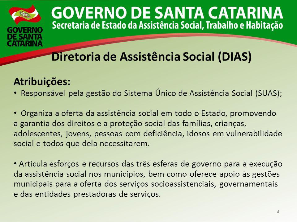4 Diretoria de Assistência Social (DIAS) Atribuições: Responsável pela gestão do Sistema Único de Assistência Social (SUAS); Organiza a oferta da assi