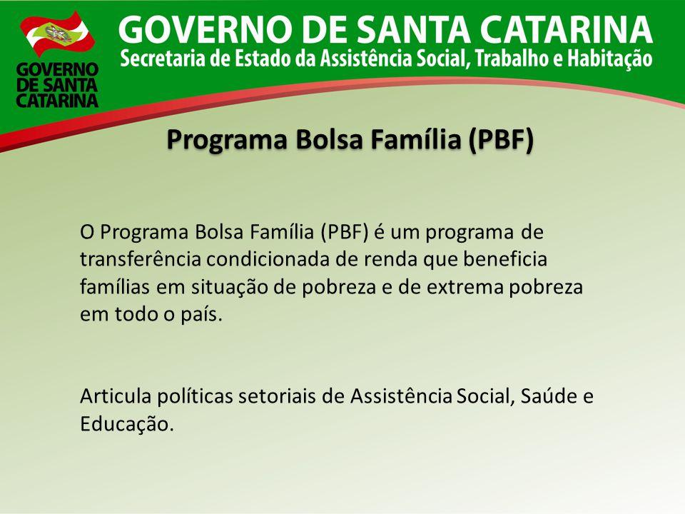 O Programa Bolsa Família (PBF) é um programa de transferência condicionada de renda que beneficia famílias em situação de pobreza e de extrema pobreza
