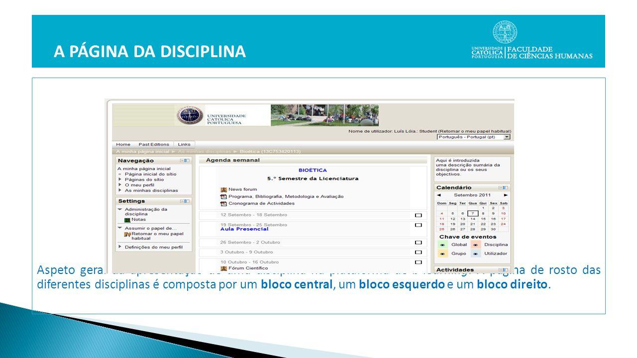 Aspeto geral da apresentação de uma disciplina na plataforma de b-learning.