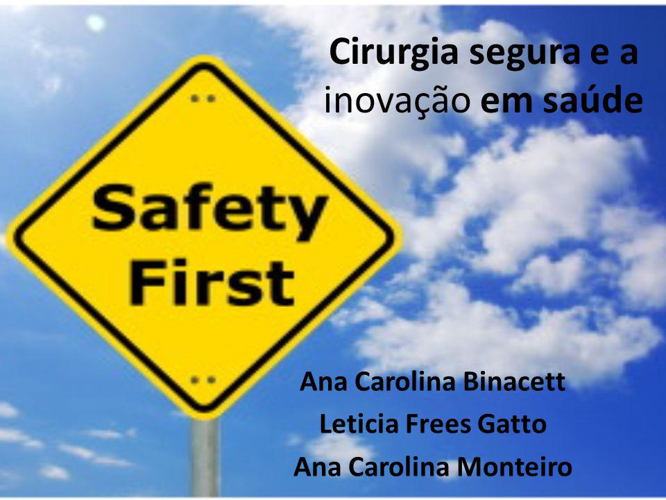 Cirurgia segura e a inovação em saúde Ana Carolina Binacett Leticia Frees Gatto Ana Carolina Monteiro