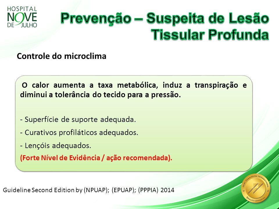 Controle do microclima Guideline Second Edition by (NPUAP); (EPUAP); (PPPIA) 2014 O calor aumenta a taxa metabólica, induz a transpiração e diminui a