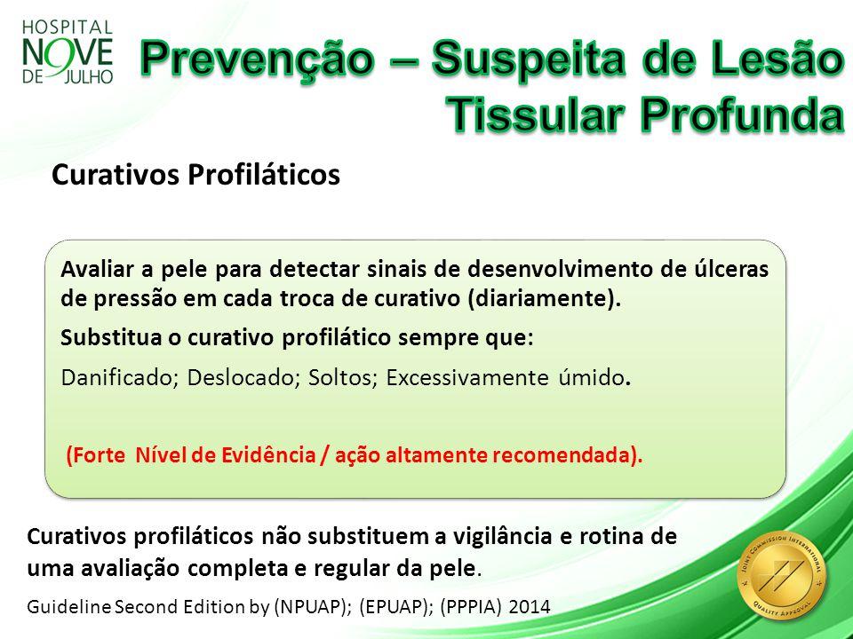 Curativos Profiláticos Guideline Second Edition by (NPUAP); (EPUAP); (PPPIA) 2014 Avaliar a pele para detectar sinais de desenvolvimento de úlceras de