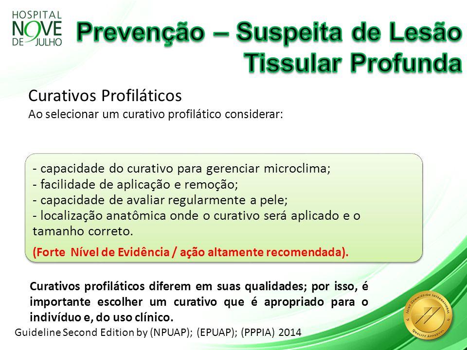 Curativos Profiláticos Ao selecionar um curativo profilático considerar: Guideline Second Edition by (NPUAP); (EPUAP); (PPPIA) 2014 - capacidade do cu