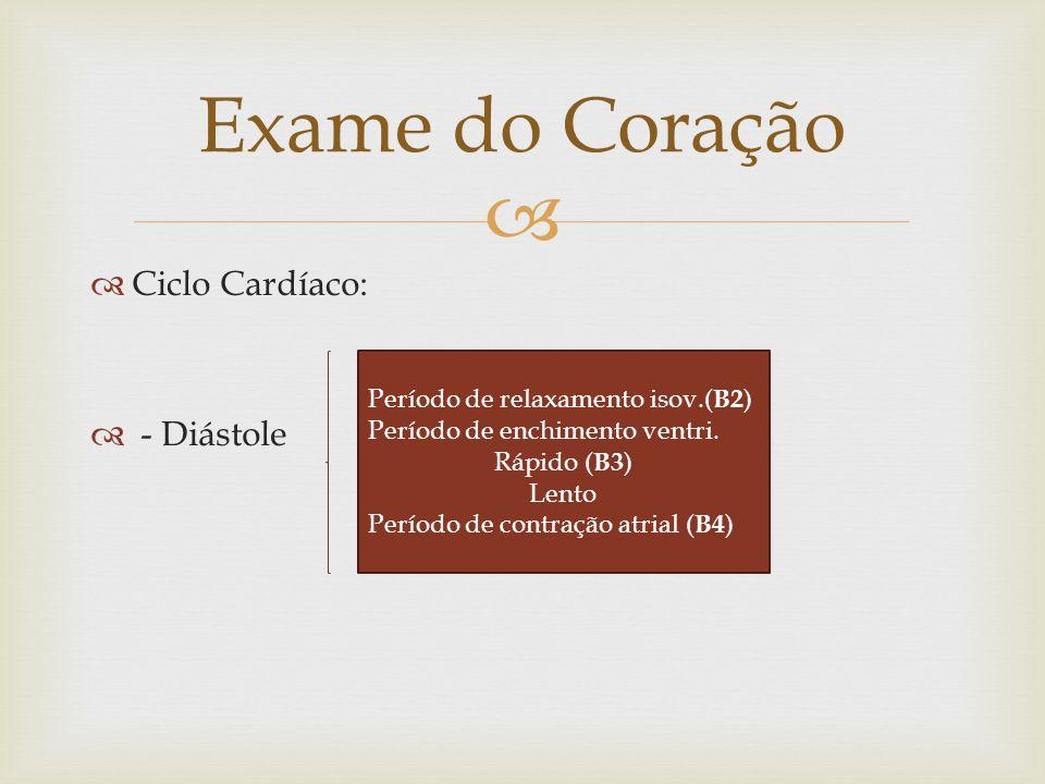   Ciclo Cardíaco:  - Diástole Exame do Coração Período de relaxamento isov.( B2 ) Período de enchimento ventri. Rápido ( B3 ) Lento Período de cont
