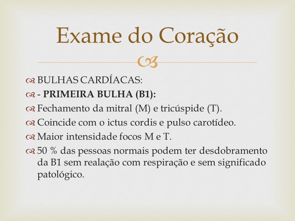   BULHAS CARDÍACAS:  - PRIMEIRA BULHA (B1):  Fechamento da mitral (M) e tricúspide (T).  Coincide com o ictus cordis e pulso carotídeo.  Maior i