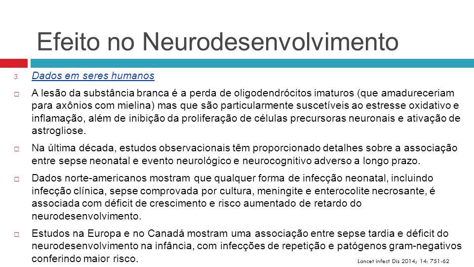 Efeito no Neurodesenvolvimento Lancet infect Dis 2014; 14: 751-62 3. Dados em seres humanos  A lesão da substância branca é a perda de oligodendrócit