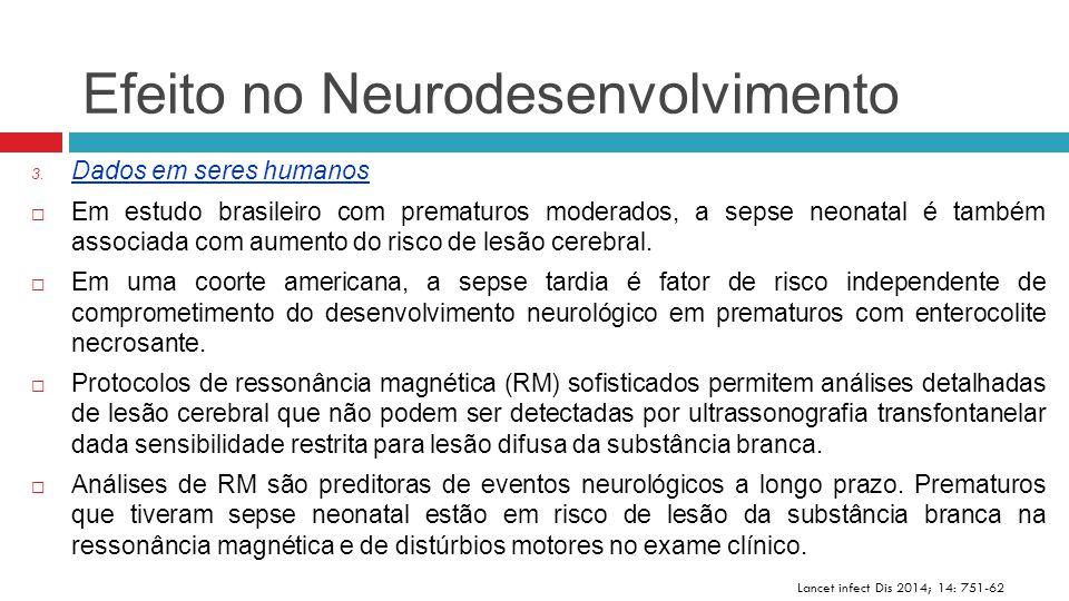 Efeito no Neurodesenvolvimento Lancet infect Dis 2014; 14: 751-62 3. Dados em seres humanos  Em estudo brasileiro com prematuros moderados, a sepse n