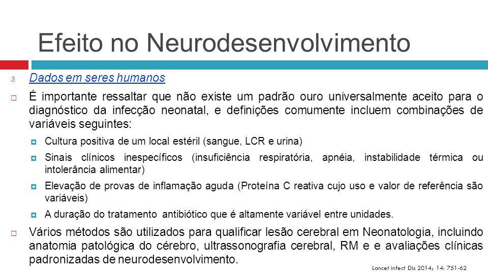 Efeito no Neurodesenvolvimento Lancet infect Dis 2014; 14: 751-62 3. Dados em seres humanos  É importante ressaltar que não existe um padrão ouro uni
