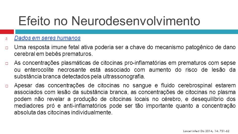 Efeito no Neurodesenvolvimento Lancet infect Dis 2014; 14: 751-62 3. Dados em seres humanos  Uma resposta imune fetal ativa poderia ser a chave do me