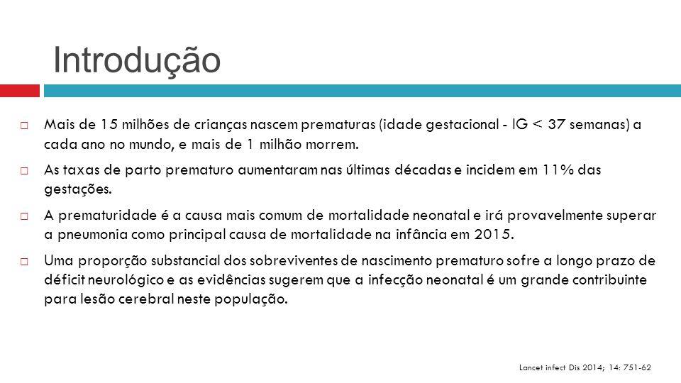 Introdução Lancet infect Dis 2014; 14: 751-62  Mais de 15 milhões de crianças nascem prematuras (idade gestacional - IG < 37 semanas) a cada ano no m
