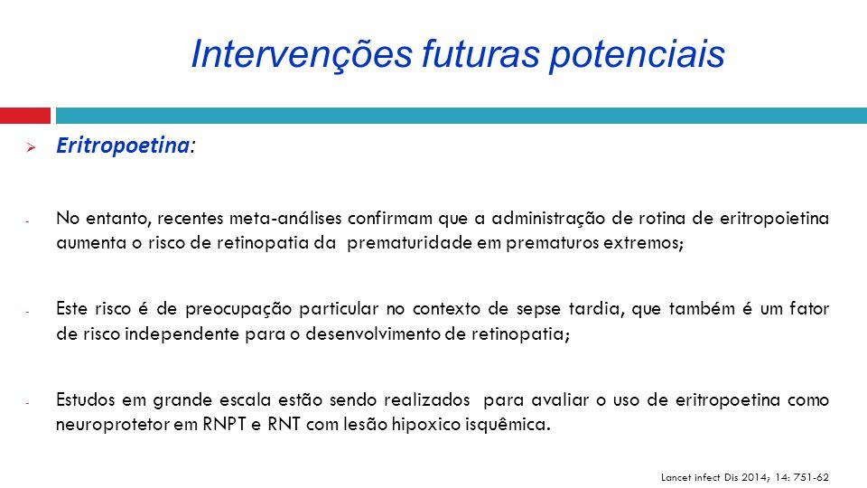  Eritropoetina: - No entanto, recentes meta-análises confirmam que a administração de rotina de eritropoietina aumenta o risco de retinopatia da prem