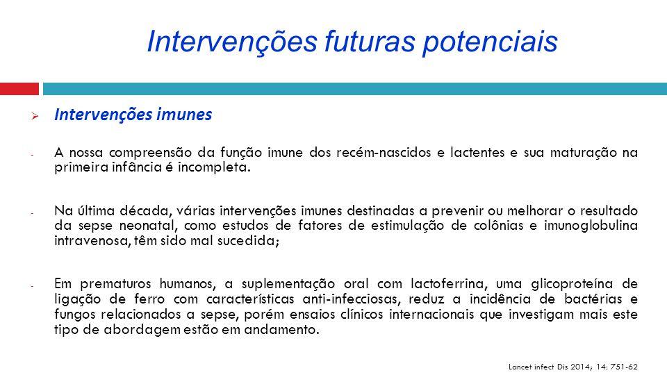  Intervenções imunes - A nossa compreensão da função imune dos recém-nascidos e lactentes e sua maturação na primeira infância é incompleta. - Na últ