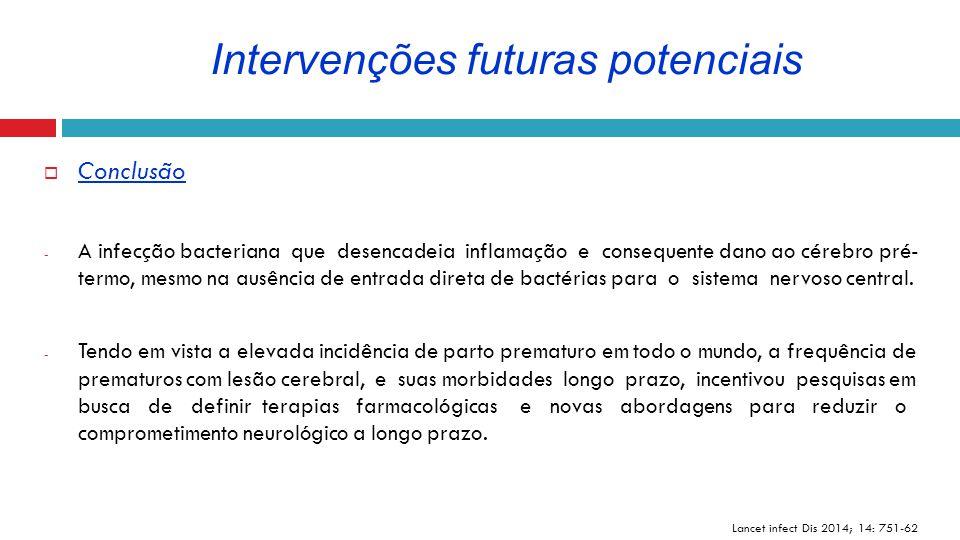  Conclusão - A infecção bacteriana que desencadeia inflamação e consequente dano ao cérebro pré- termo, mesmo na ausência de entrada direta de bactér