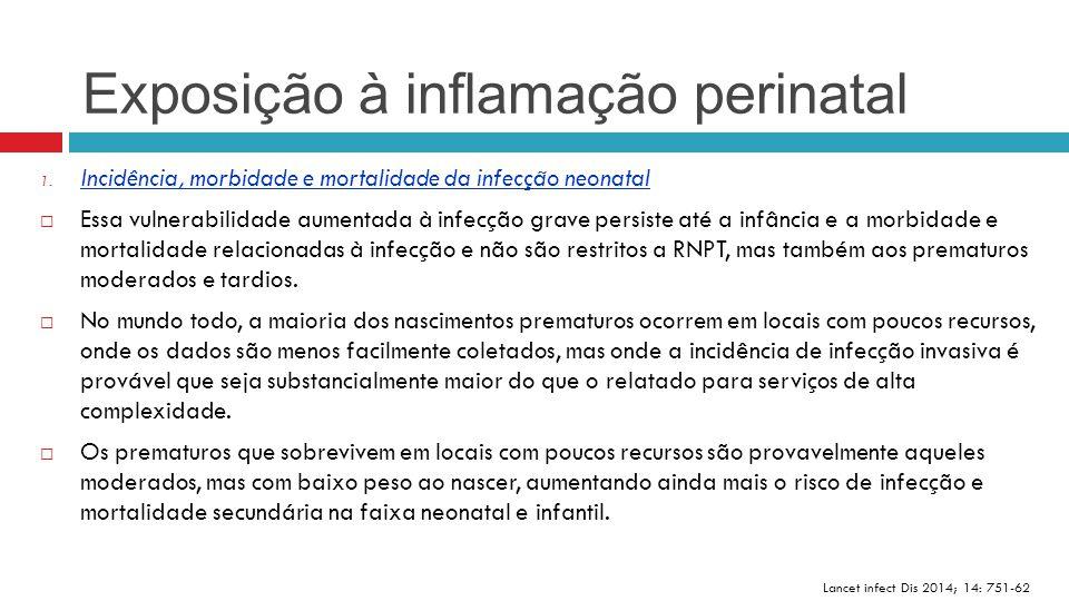 Exposição à inflamação perinatal Lancet infect Dis 2014; 14: 751-62 1. Incidência, morbidade e mortalidade da infecção neonatal  Essa vulnerabilidade