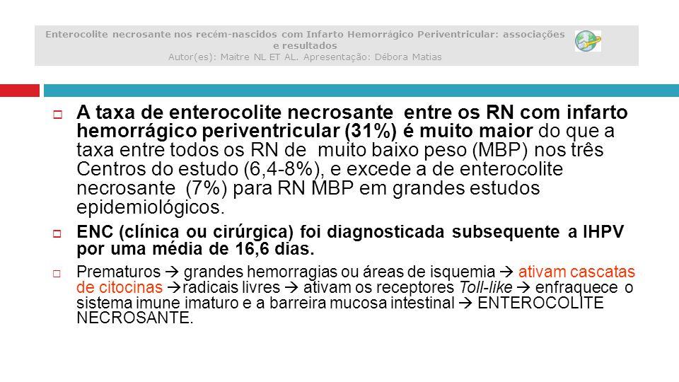  A taxa de enterocolite necrosante entre os RN com infarto hemorrágico periventricular (31%) é muito maior do que a taxa entre todos os RN de muito b