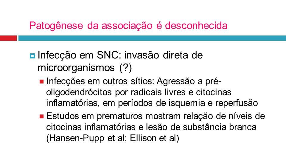 Patogênese da associação é desconhecida  Infecção em SNC: invasão direta de microorganismos (?) Infecções em outros sítios: Agressão a pré- oligodend